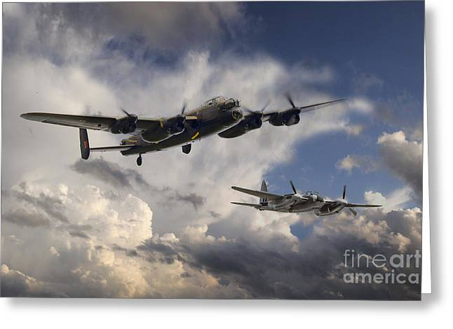 De Havilland Greeting Cards - Lancaster and Mosquito Legends Greeting Card by J Biggadike