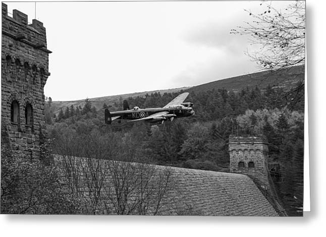 617 Squadron Greeting Cards - Lancaster at the Derwent Dam black and white version Greeting Card by Gary Eason
