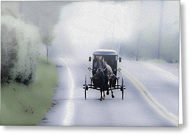 Horse Buggy Digital Art Greeting Cards - Lancaster County Pennsylvania Greeting Card by Bill Cannon