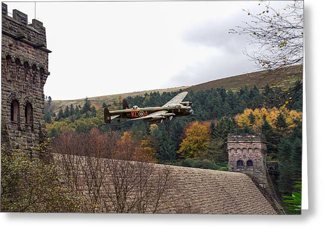 617 Squadron Greeting Cards - Lancaster KC-A at the Derwent Dam Greeting Card by Gary Eason