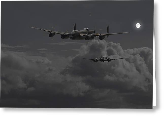 Moonlit Night Greeting Cards - Lancaster- Night Hunter Greeting Card by Pat Speirs