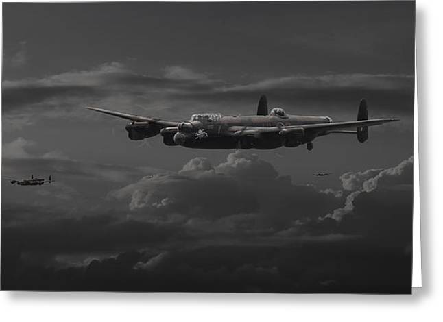 Moonlit Scenes Greeting Cards - Lancaster - No more............. Greeting Card by Pat Speirs