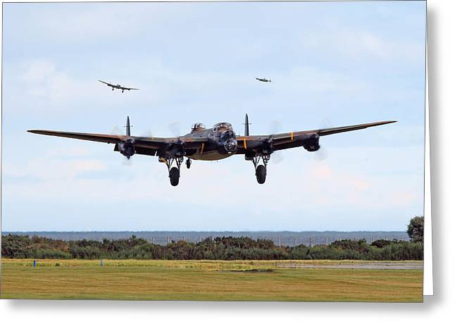 Lancaster Bomber Greeting Cards - Lancaster - Safe Home Greeting Card by Pat Speirs