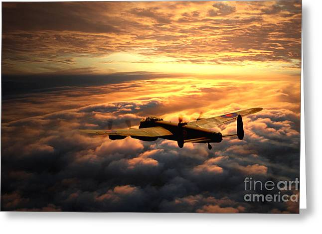 Above The Clouds Greeting Cards - Lancaster Solitude Greeting Card by J Biggadike