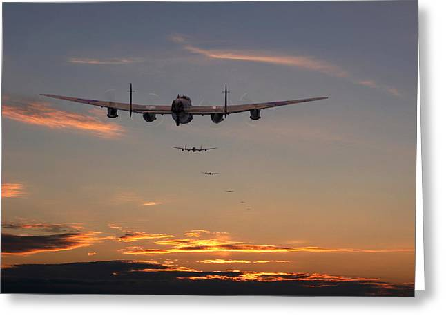 Military Airplanes Greeting Cards - Lancaster - At the going down of the sun... Greeting Card by Pat Speirs