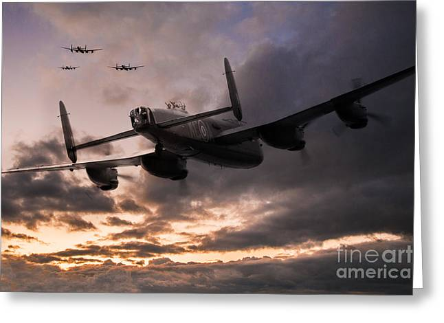 Aviation Art Framed Prints Greeting Cards - Lancasters Depart Greeting Card by J Biggadike
