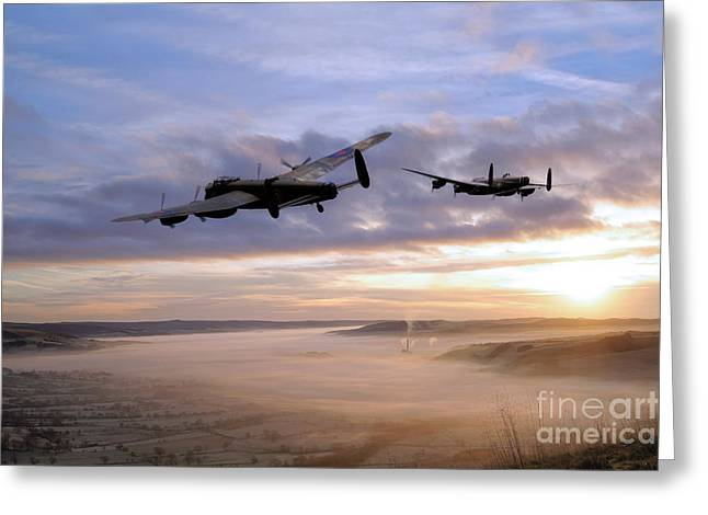 Mam Tor Greeting Cards - Lancasters Over The Valley  Greeting Card by J Biggadike
