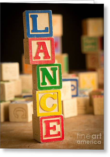 Lance Armstrong Greeting Cards - LANCE - Alphabet Blocks Greeting Card by Edward Fielding