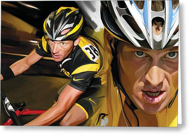 Lance Armstrong Greeting Cards - Lance Armstrong Artwork Greeting Card by Sheraz A