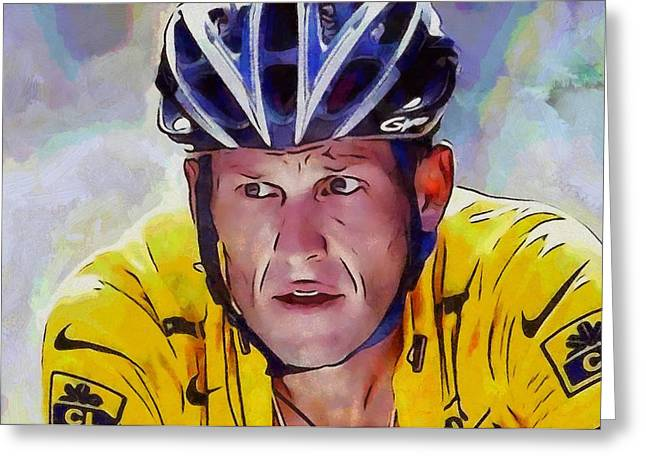 Cancer Survivor Greeting Cards - Lance Armstrong Greeting Card by Dan Sproul