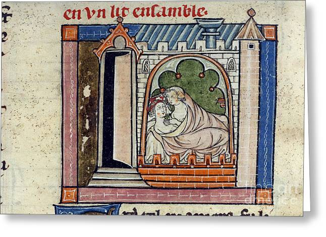 Guinevere Greeting Cards - Lancelot And Guinevere In Bed Greeting Card by British Library