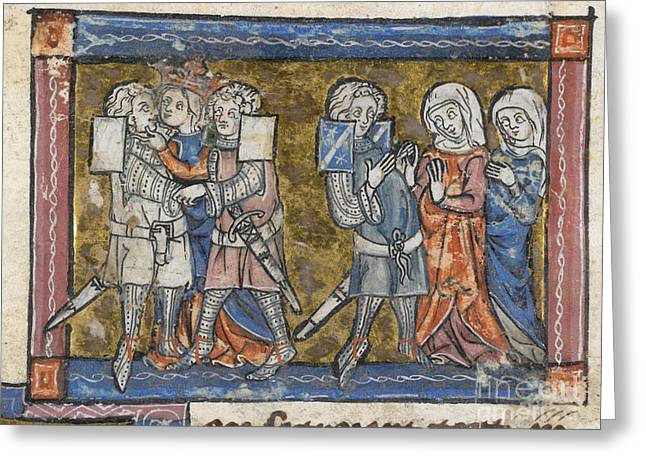 Guinevere Greeting Cards - Lancelot And Guinevere Kiss Greeting Card by British Library