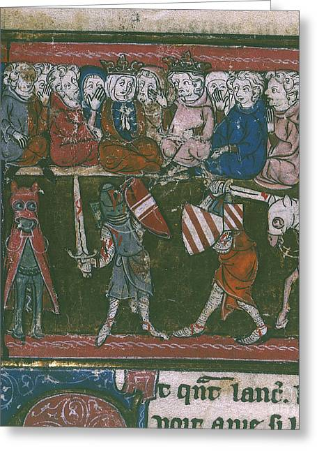Lancelot Greeting Cards - Lancelot Fights Sir Mador Greeting Card by British Library