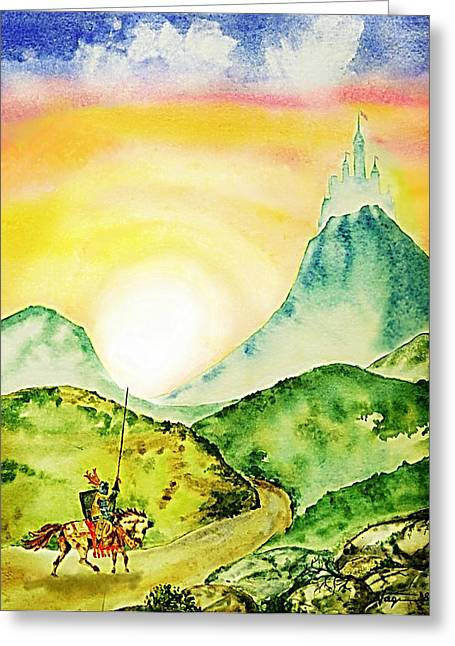 Knights Castle Mixed Media Greeting Cards - Lancelot Greeting Card by Hartmut Jager