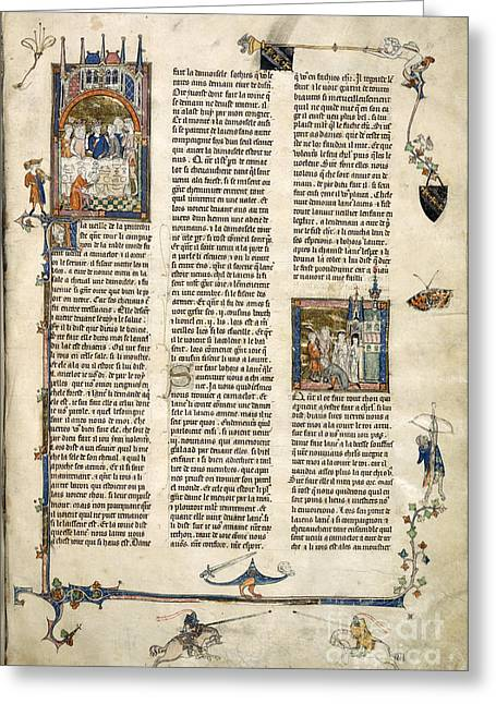 Lancelot Greeting Cards - Lancelot Leaves The Court Greeting Card by British Library