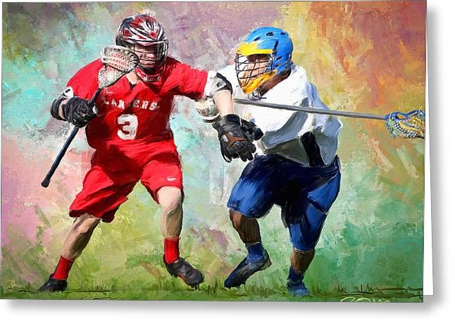 Scott Melby Greeting Cards - Lancers Lacrosse Greeting Card by Scott Melby