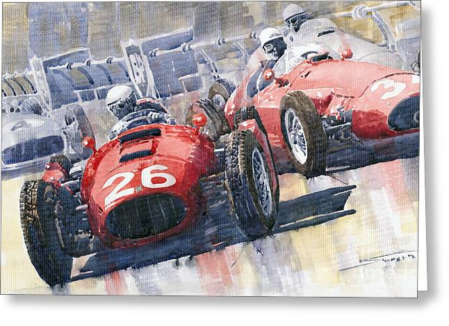 Monaco Greeting Cards - Lancia D50 Alberto Ascari Monaco 1955 Greeting Card by Yuriy  Shevchuk