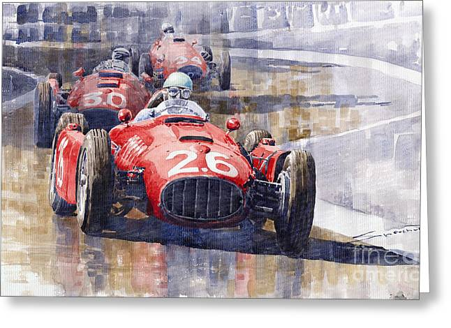 Maserati Greeting Cards - Lancia D50 Monaco GP 1955 Greeting Card by Yuriy  Shevchuk