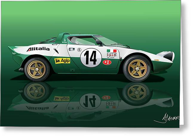 Vector Art Greeting Cards - Lancia Stratos HF Greeting Card by Alain Jamar