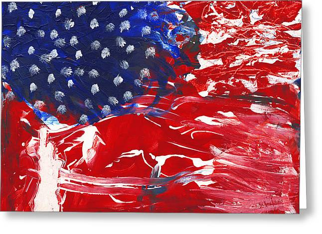 Recently Sold -  - 4th July Mixed Media Greeting Cards - Land of Liberty Greeting Card by Luz Elena Aponte