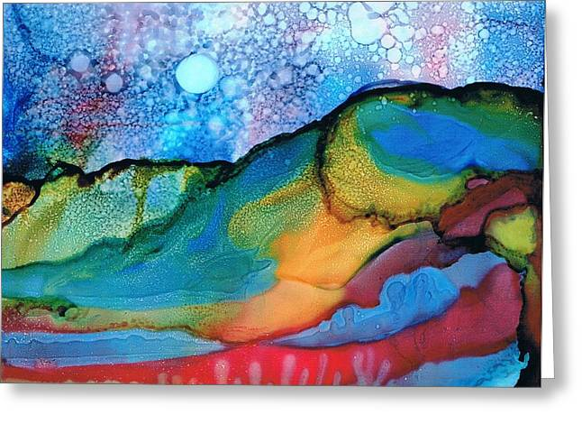 Alcohol Inks Greeting Cards - Land of Many Moons Greeting Card by Christine Crawford