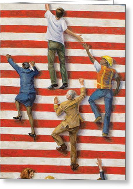 Political Allegory Paintings Greeting Cards - Land of Opportunity Greeting Card by Christopher Panza