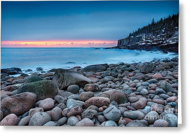 Maine Shore Greeting Cards - Land Of Sunrise Greeting Card by Evelina Kremsdorf