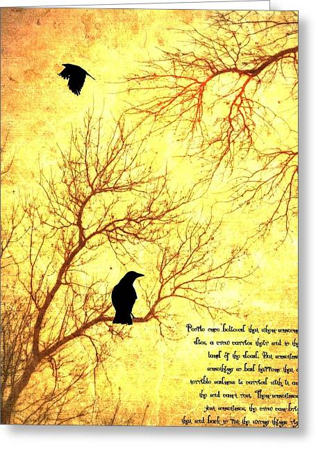 Crow Mixed Media Greeting Cards - Land Of The Dead Greeting Card by Dan Sproul