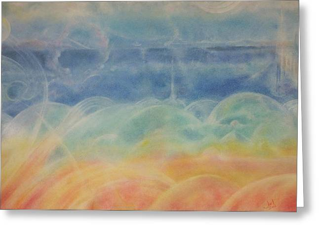 Surreal Landscape Pastels Greeting Cards - Land of the Domes Greeting Card by Joel Rudin