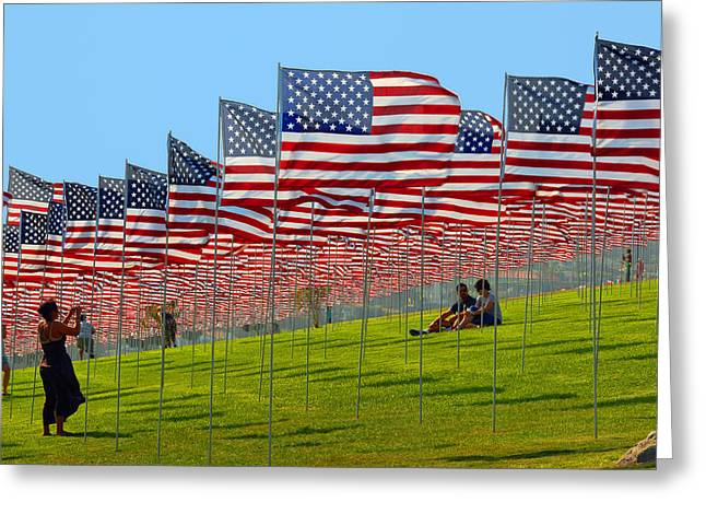 Flag Of Usa Greeting Cards - Land of the Free - Fine Art by Lynn Bauer Greeting Card by Lynn Bauer