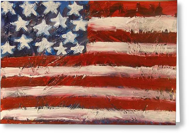 4th July Paintings Greeting Cards - Land Of The Free Greeting Card by Niceliz Howard