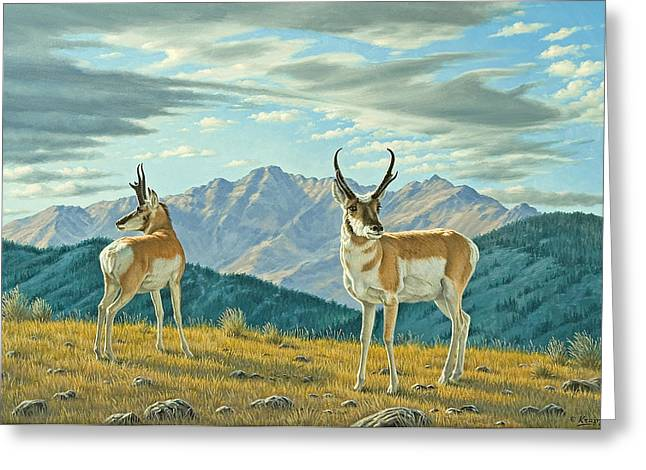 Pronghorn Greeting Cards - Land of the Free Greeting Card by Paul Krapf