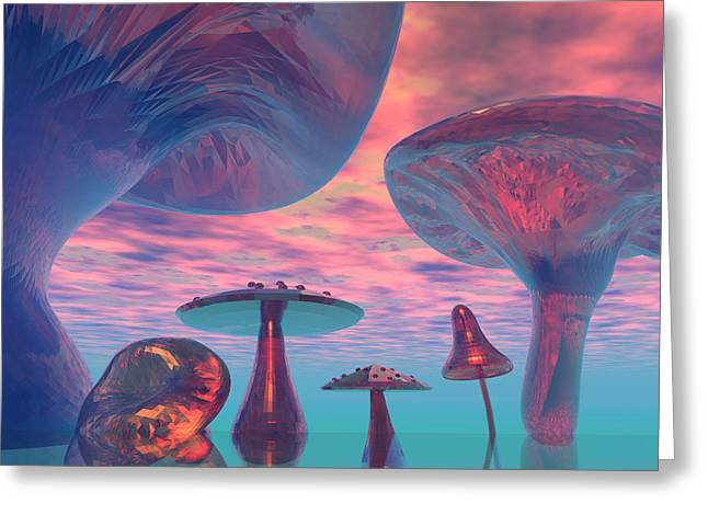 Hallucination Digital Greeting Cards - Land of the Giant Mushrooms Greeting Card by Corey Ford