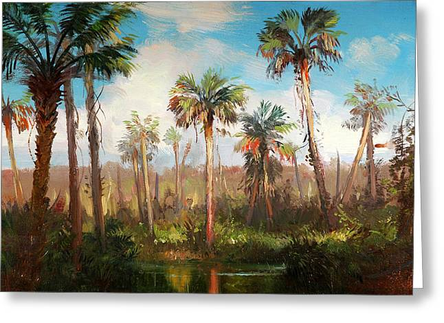 Collier Paintings Greeting Cards - Land of the Seminole Greeting Card by Keith Gunderson
