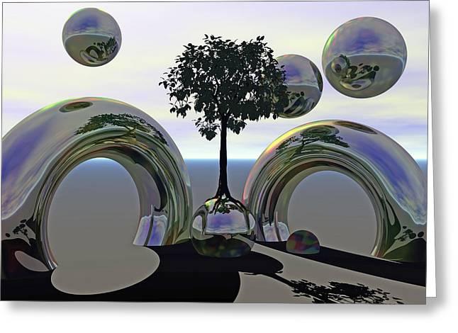 Spheres Greeting Cards - Matrix Metal Greeting Card by Betsy C  Knapp