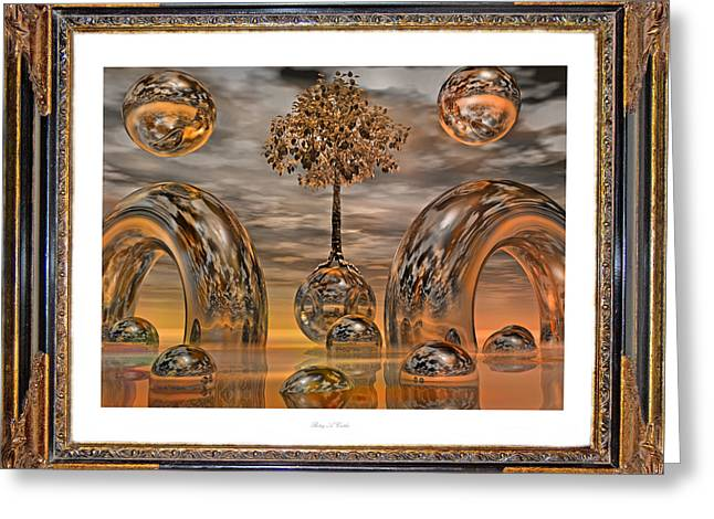 Spheres Greeting Cards - Land of World 8624042 Framed Greeting Card by Betsy C  Knapp
