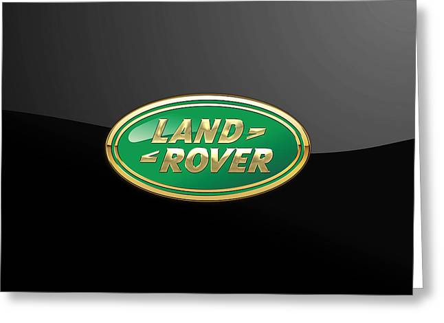 Jaguars Greeting Cards - Land Rover - 3D Badge on Black Greeting Card by Serge Averbukh