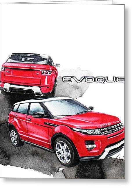 Rover Greeting Cards - Land Rover Evoque Greeting Card by Yoshiharu Miyakawa