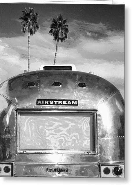 Metal Art Greeting Cards - LAND YACHT BW Palm Springs Greeting Card by William Dey
