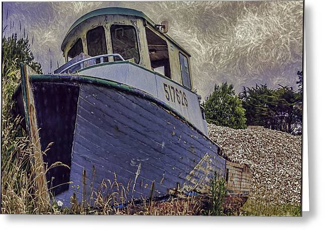 Water Vessels Greeting Cards - Landed Boat Greeting Card by Jean OKeeffe Macro Abundance Art