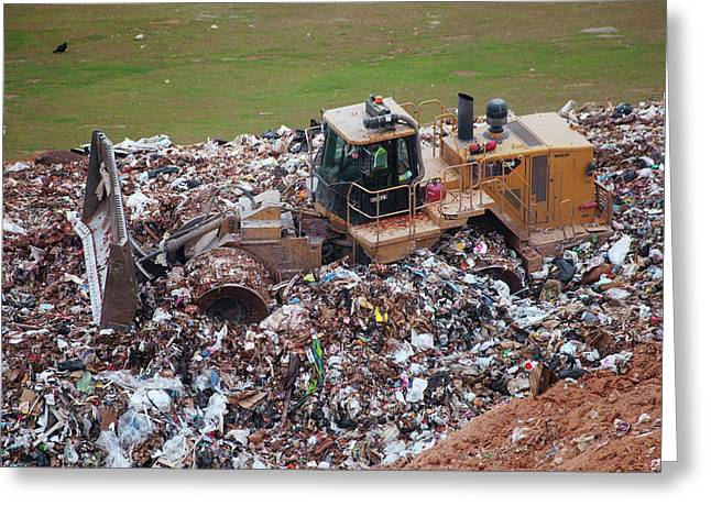Landfill Waste Disposal Bulldozer Greeting Card by Peter Menzel