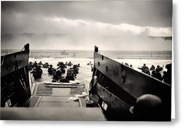 Landing Gear Greeting Cards - Landing at Normandy on D-Day Greeting Card by Mountain Dreams