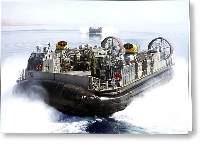 Landing Craft Greeting Cards - Landing Craft Air Cushions Conduct Greeting Card by Stocktrek Images