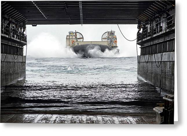 Germantown Greeting Cards - Landing Craft Approaching Greeting Card by Mountain Dreams