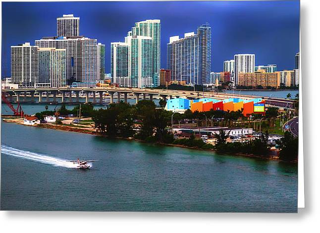 Seaplane Greeting Cards - Landing in Miami Bay Greeting Card by Mountain Dreams