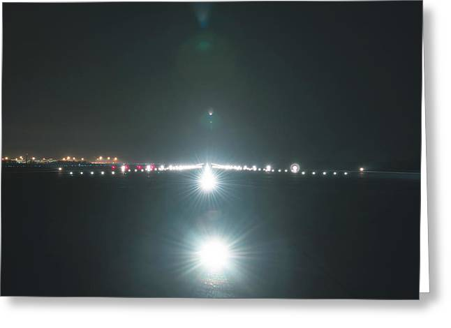 Airport Pyrography Greeting Cards - Landing lights at the airport runway Greeting Card by Oliver Sved