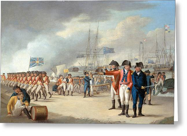 Army Soldier Greeting Cards - Landing Of British Troops Under Sir Greeting Card by Robert Dodd
