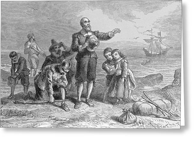 Plymouth Rock Greeting Cards - Landing Of The Pilgrims, 1620, Engraved By A. Bollett, From Harpers Monthly, 1857 Engraving B&w Greeting Card by Felix Octavius Carr Darley