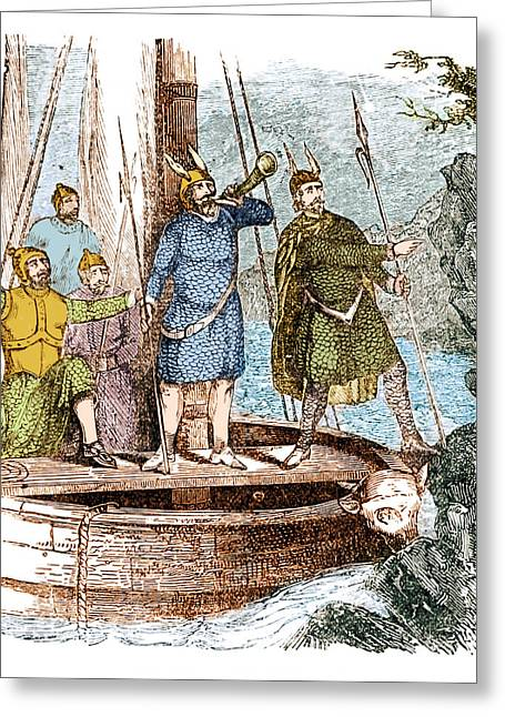 Landing Of The Vikings In The Americas Greeting Card by Science Source