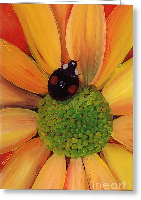 Lady Glass Greeting Cards - Landing Pad Greeting Card by Anna Skaradzinska